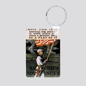 Americna Recruiting WWI _n Aluminum Photo Keychain