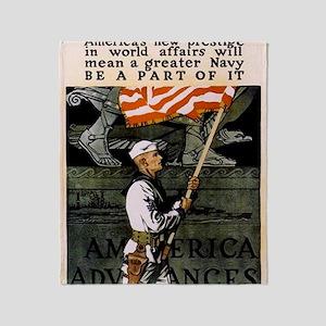 Americna Recruiting WWI _navy_ww1_jo Throw Blanket