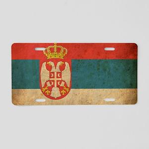 vintageSerbia3 Aluminum License Plate
