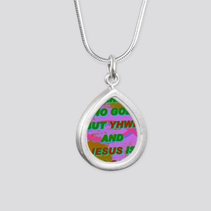 16-THERE IS NO GOD BUT Y Silver Teardrop Necklace