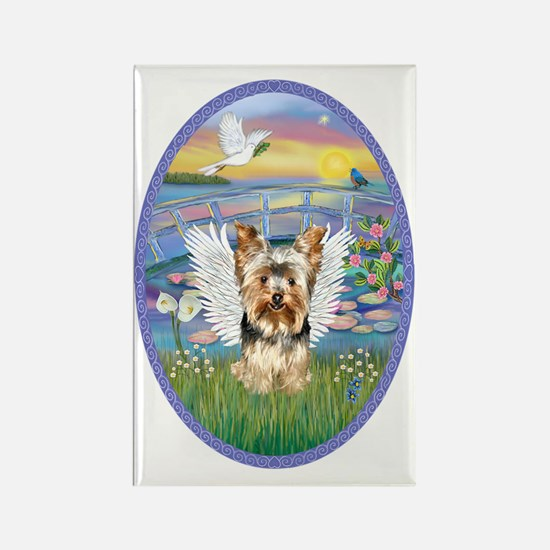 Lilies - Yorkshire Terrier 17 Rectangle Magnet