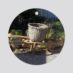 Colonial Wheel Barrow Colonial Will Round Ornament