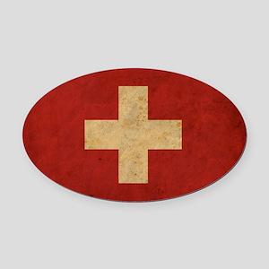 vintageSwitzerland3 Oval Car Magnet