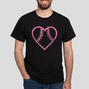 softball-heart-pink Dark T-Shirt