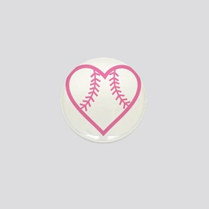 softball-heart-pink Mini Button