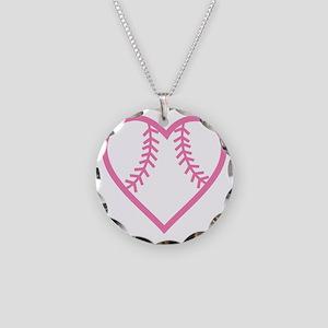softball-heart-pink Necklace Circle Charm