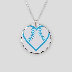 softball-heart-blue Necklace Circle Charm