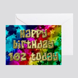 102nd Birthday card with stars. Greeting Cards