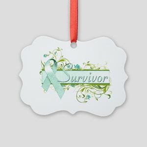 Survivor Floral Teal Picture Ornament