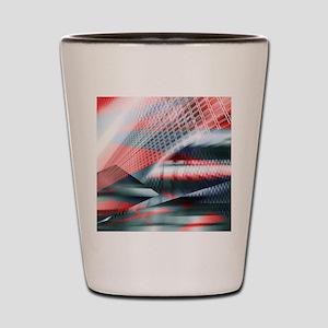 futuristic red grey geometric patterns Shot Glass