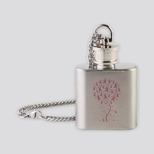 Pink Ribbon Breast Cancer Tree Flask Necklace