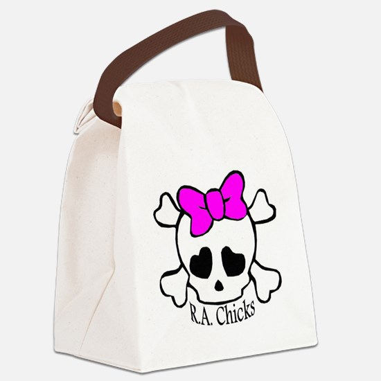 RA Chicks Cute Skull Canvas Lunch Bag
