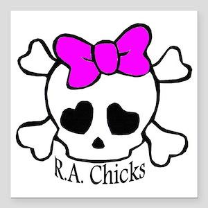 "RA Chicks Cute Skull Square Car Magnet 3"" x 3"""