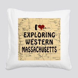 I Love Exploring Western Mass Square Canvas Pillow