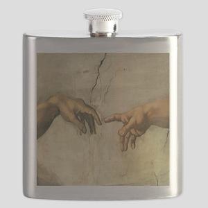 Creation_of_Man_Michaelangelo_12x12 Flask