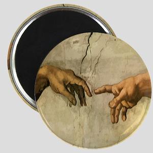 Creation_of_Man_Michaelangelo_12x12 Magnet