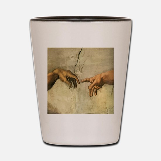 Creation_of_Man_Michaelangelo_12x12 Shot Glass