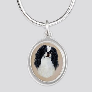 Japanese Chin Silver Oval Necklace