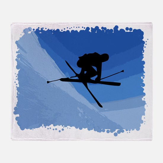 Skier jumping skis crossed Throw Blanket