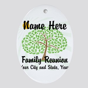 Customizable Family Reunion Tree Ornament (Oval)