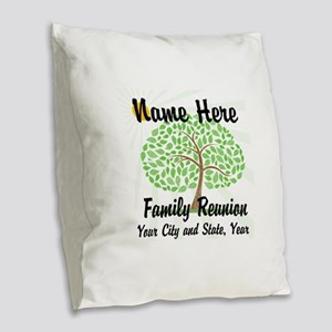 Customizable Family Reunion Tree Burlap Throw Pill