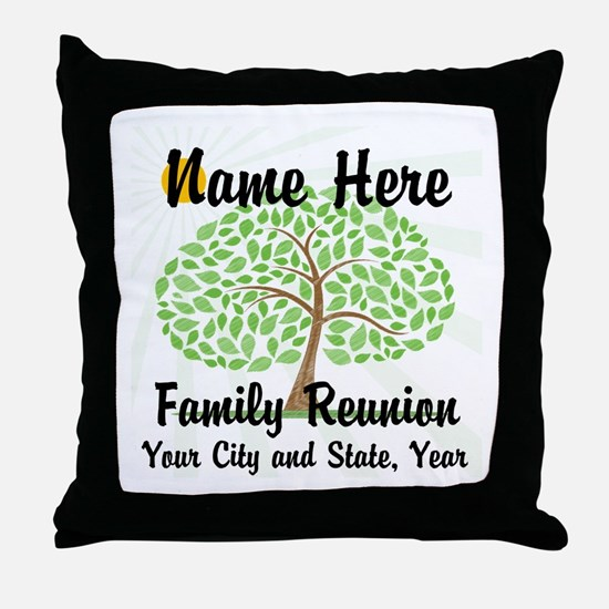 Customizable Family Reunion Tree Throw Pillow