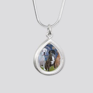 T-Starry Night - 3 Boxer Silver Teardrop Necklace