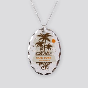 CapeTownpalmtree3 Necklace Oval Charm