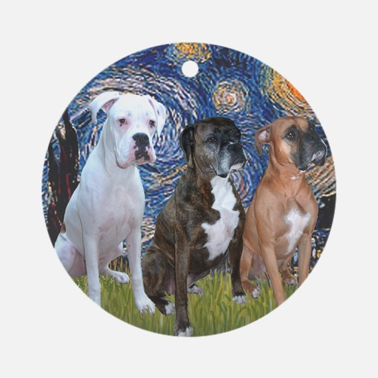 T-Starry Night - 3 Boxers Round Ornament