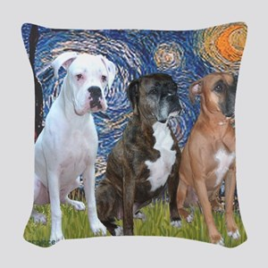 T-Starry Night - 3 Boxers Woven Throw Pillow