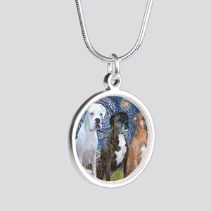 T-Starry Night - 3 Boxers Silver Round Necklace