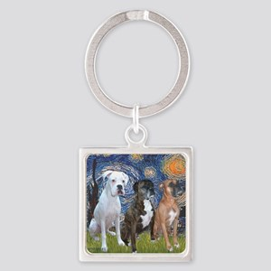 T-Starry Night - 3 Boxers Square Keychain