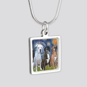 T-Starry Night - 3 Boxers Silver Square Necklace