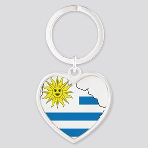 MapOfUruguay1 Heart Keychain