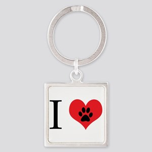 I Love Dogs Square Keychain
