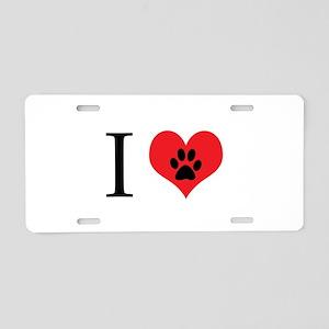 I Love Dogs Aluminum License Plate