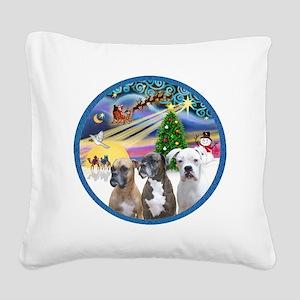 R-XmasMagic-3Boxers Square Canvas Pillow