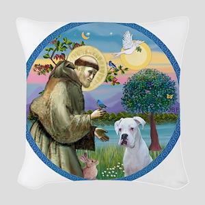 R-StFrancis-White Boxer (W) Woven Throw Pillow