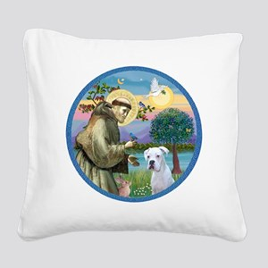 R-StFrancis-White Boxer (W) Square Canvas Pillow