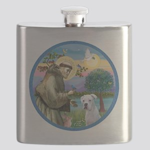 R-StFrancis-White Boxer (W) Flask