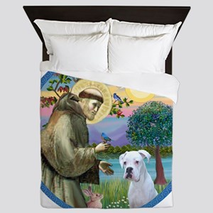 R-StFrancis-White Boxer (W) Queen Duvet
