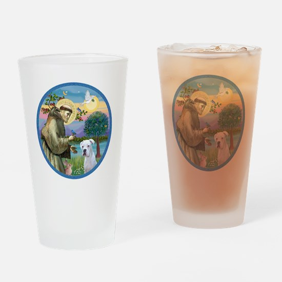 R-StFrancis-White Boxer (W) Drinking Glass