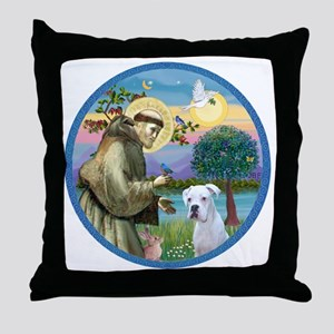 R-StFrancis-White Boxer (W) Throw Pillow