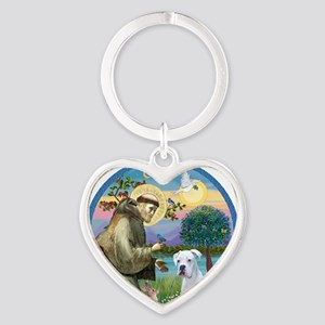 R-StFrancis-White Boxer (W) Heart Keychain