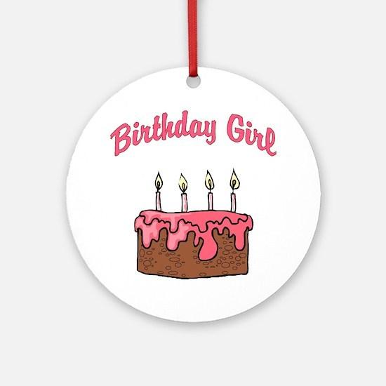 birthday girl 4 Round Ornament