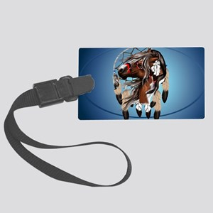 Paint Horse Dreamcatcher-oval_st Large Luggage Tag