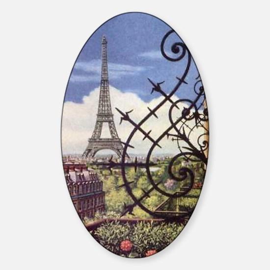 eifel tower wrought iron Sticker (Oval)