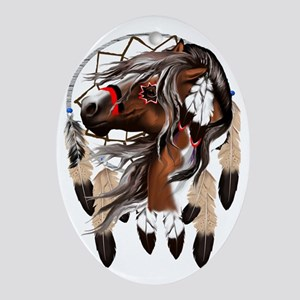 Paint Horse Dreamcathcer Trans Oval Ornament