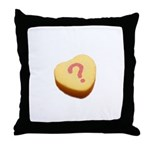 Question Mark on a Candy Heart Throw Pillow
