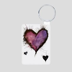 Purple Hearts 2 Aluminum Photo Keychain